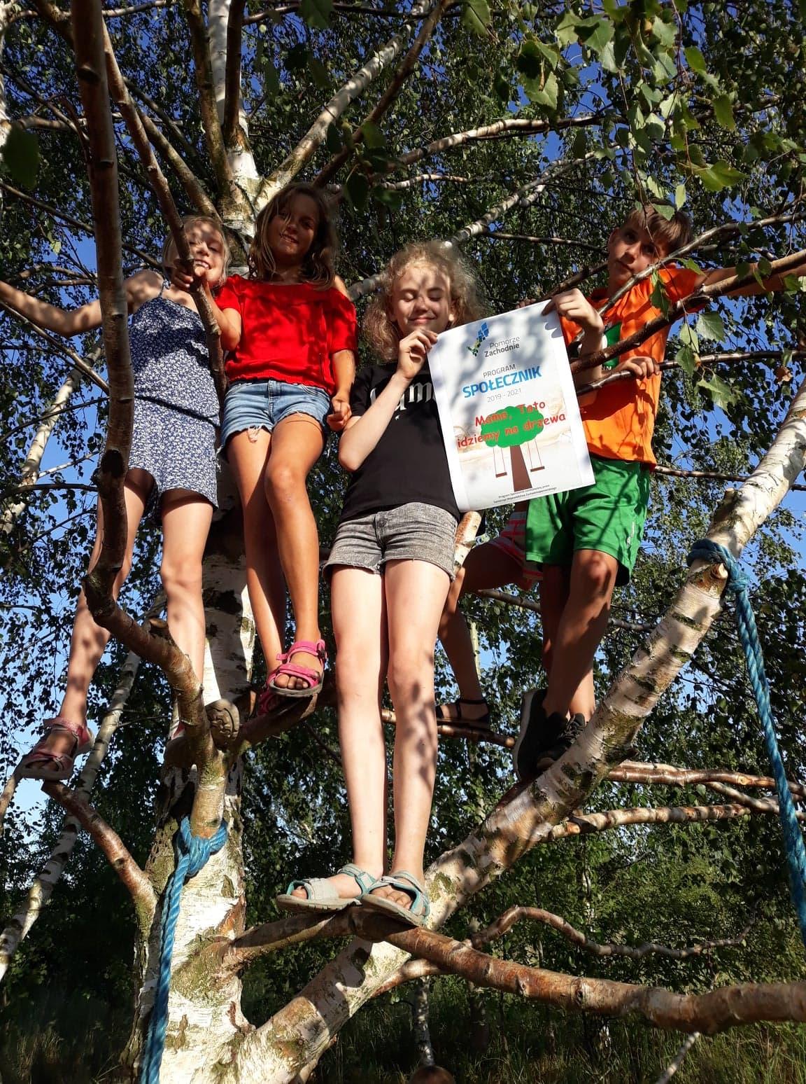 zdjecie dzieci na drzewie z plakatem